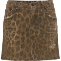 R13 High Rise Leopard Print Cotton Mini Skirt - Neutro