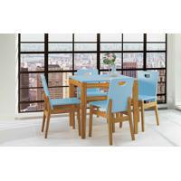 Conjunto De Mesa De Jantar Com 4 Cadeiras Tucupi 80Cm - Acabamento Stain Nózes E Azul Bebê