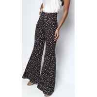 Calça Pantalona Com Botões- Preta & Brancacharry