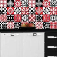 Adesivo Azulejos Retrô Vermelho E Preto (15X15Cm)