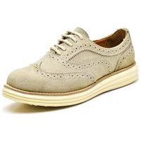 Sapato Oxford Casual Conforto Camurça Gelo