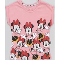 Blusa Infantil Minnie Manga Curta Decote Redondo Rosa