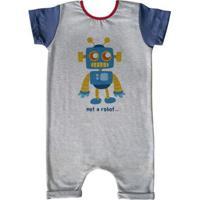 Macacão Infantil Curto Comfy Not Robot - Unissex-Cinza
