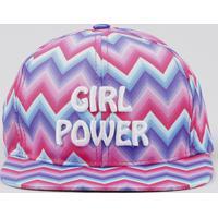 "Boné Infantil Aba Reta ""Girl Power"" Estampado Chevron Rosa"
