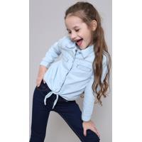 Camisa Jeans Infantil Com Bolsos E Nó Manga Longa Azul Claro