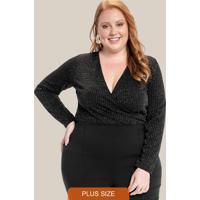 Blusa Plus Size Decote Transpassado Preto