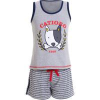 Pijama Short Doll Regata Cachorrino Juvenil Menina Luna Cuore