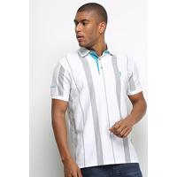 Camisa Polo Aleatory Listrada Fio Tinto Masculina - Masculino-Mescla