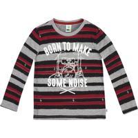 """Camiseta """"Born To Make Some Noise""""- Cinza & Vermelho Escpuc"""