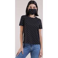 Kit De Blusa Feminina Estampada De Poá Manga Curta Decote Redondo + Máscara De Proteção Individual Preto