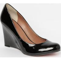 Sapato Anabela Envernizado - Preto- Salto: 9,5Cmmya Haas