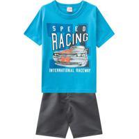 "Conjunto De Camiseta ""Racing"" + Bermuda Lisa- Azul & Cinbrandili"