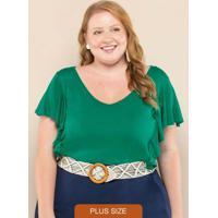 Body Plus Size Babados Verde Folhagem