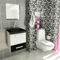 Conjunto Para Banheiro Vetro Branco E Preto