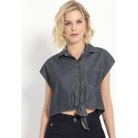 Camisa Jeans Com Amarração- Azul- Colccicolcci