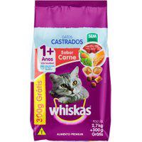 Ração Para Gatos Castrados Whiskas Adultos 1+ Anos Sabor Carne 2,7Kg Ganhe 300G