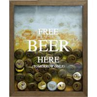 Quadro Porta Tampinhas De Cervejas Free Beer Natural