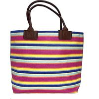 Bolsa Palha Listrada Multicolorida