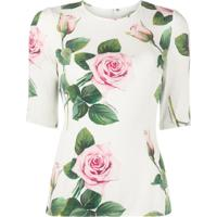 Dolce & Gabbana Tropical Rose Print Fitted Blouse - Branco