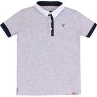 Camiseta Polo Peitilho Diferenciado - Masculino-Cinza