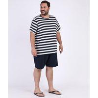 Pijama Masculino Plus Size Listrado Manga Curta Branco