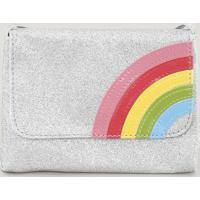 Bolsa Infantil Arco Íris Com Glitter Prateada - Único