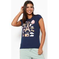 Camiseta Paris- Azul Marinho & Rosaclub Polo Collection