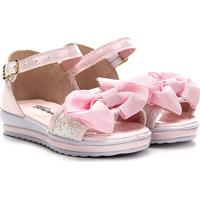 Sandália Infantil Tininha Laço Tira Glitter Feminina - Feminino-Rosa