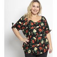 Blusa Floral Com Botãµes- Preta & Vermelha- Pianetapianeta