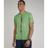 """Camiseta Masculina Esportiva Ace """"We Got Game"""" Mescla Manga Curta Gola Careca Verde"""
