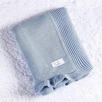 Manta Bebê Azul Algodáo Doce Tricot 80Cm Gráo De Gente Azul