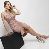 Vestido Em Renda Com Gola Alta- Nudemax Glamm