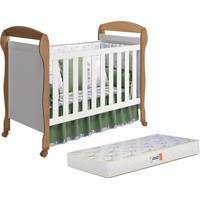 Berço Reller - Móveis Infantis Mini Cama Danny Reller Com Colchão D18 Branco Fosco/Mezzo Fosco,