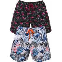 Kit 2 Shorts Escatch Estampado Grace Bay - Zebra E Flamingo
