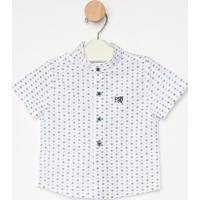 Camisa Abstrata- Branca & Azul- Pequena Maniapequena Mania