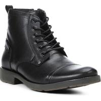 Bota Coturno Shoestock Couro Masculina - Masculino-Preto