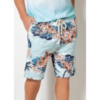 Bermuda Actual Floral Azul Com Cós Ajustável