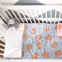 Cobertor Urso Estrela- Azul Claro & Marrom Claro- 90Camesa