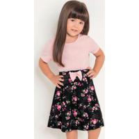 Vestido Infantil Floral Com Laço Moda Evangélica