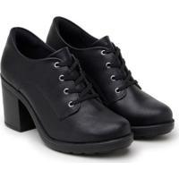 Sapato Oxford Feminino Liso Salto Alto Grosso Cadarço Casual - Feminino-Preto
