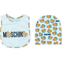 Moschino Kids Conjunto De Babador E Gorro Teddy Bear Com Logo - Azul