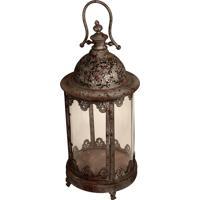 Lanterna Decorativa De Metal Envelhecido E Vidro Hainan