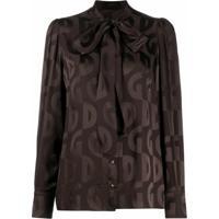 Dolce & Gabbana Blusa Com Estampa De Logo E Laço Na Gola - Marrom
