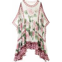 Dolce & Gabbana Vestido Com Estampa Tropical Rose - Branco