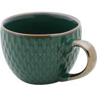 Conjunto 6 Xícaras De Porcelana P/Café Verde 90Ml
