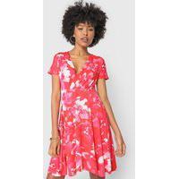 Vestido Marialícia Curto Floral Vermelho/Rosa