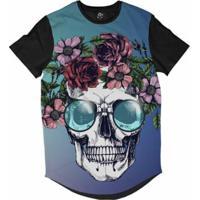 Camiseta Bsc Longline Caveira Coroa De Flores Masculina - Masculino-Azul