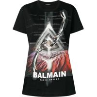 1917c4f679 Farfetch  Balmain Camiseta Com Estampa Gráfica - Preto