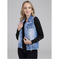 Colete Jeans Com Silk Feminino Azul