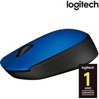 Mouse Óptico Sem Fio Logitech M170 Com 3 Botões, Nano Receptor Usb, Resolução De 1000Dpi E Azul